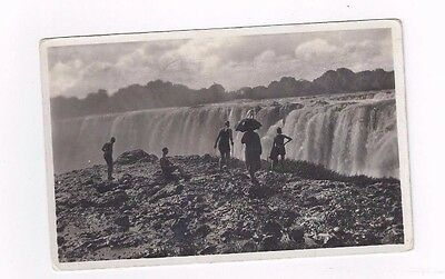 AFRICA antique 1937 db post card People at Victoria Falls in Rhodesia