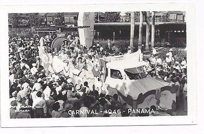 PANAMA antique 1946 real photo rppc post card View of Parade 1946 Carnival