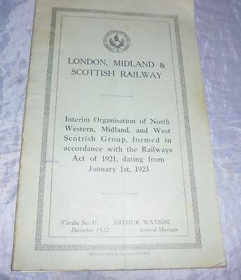 1923 London, Midland, Scottish Railway Lms Interim Organisation Of Company Book