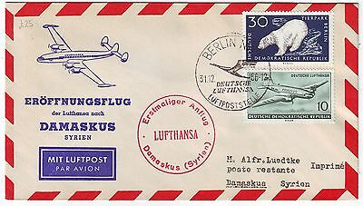 GERMANY 1956 LUFTHANSA airways official illustrated FFC *BERLIN-DAMASCUS, SYRIA*