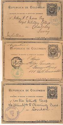 26325 COLOMBIA Early Postal stationery cards x 3 Used 1890 - 1900