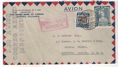 26327 COLOMBIA airmail cover to Jamaica by MANCOMUN in 1934