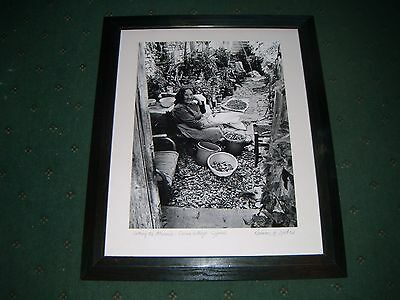 Framed Black & White Print: Sorting The Almonds Signed Norman H. Leater.