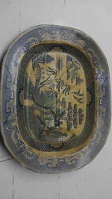 Large Willow Pattern Meat Plate With Gravy Well Victorian Serving Platter