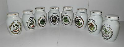 "8 Vintage Herb / Spice Jars In Fine Porcelain By ""franklin Mint"""