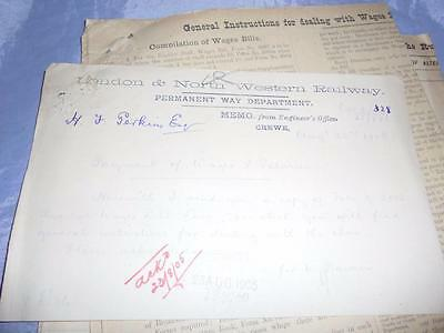1905 London & North Western Railway Wages Memo & 2 Sample Large Wages Sheets