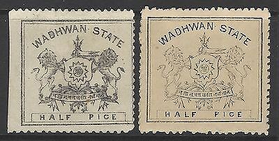 WADHWAN STATE 1888-1894 early classic MINT stamp duo, SG#5a,6, Indian States