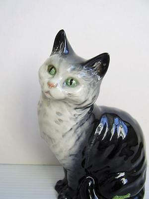 """Large BESWICK SEATED CAT w LABEL 6.25"""" Model No 1030 HAND PAINTED GREY GLOSS vgc"""