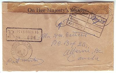PITCAIRN ISLANDS 1957 OHMS stampless reg cover to CANADA via CANNEL ZONE