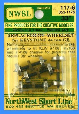 """Pointed Axle Wheelsets  33""""/110 Wheels, Geared For Keystone 44-Tonner NWSL 117-6"""