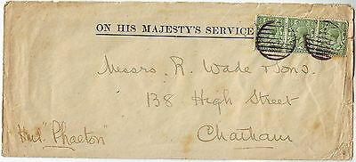 1920? MARITIME cancel on OHMS cover sent to CHATHAM via HMS PHAETON