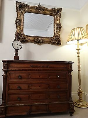 Large Rococo reproduction antique Wall hall mirror. Fabulous ornate & Opulent