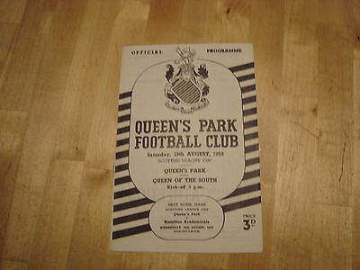 Queens Park v Queen of the South Aug 1950 Scottish League Cup