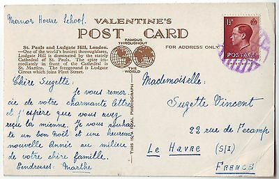 1936? MARITIME cancel on LONDON LUDGATE HILL post card