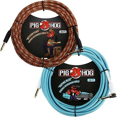 2 New Pig Hog 20 Foot Right Angle Instrument Cables Western Plaid & Daphne Blue