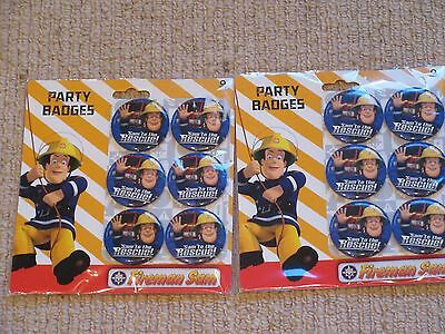 NEW 12 FIREMAN SAM 2 x 6 Pack Party BADGE Gift SAM to the RESCUE Official