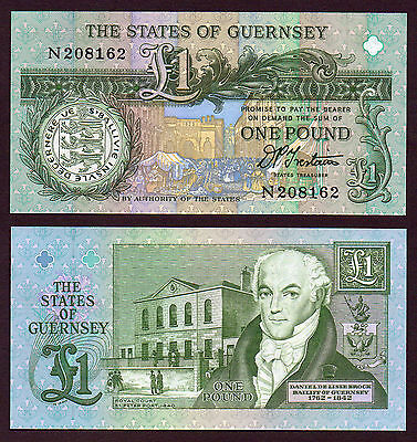 PRIME  £1 GUERNSEY signed TRESTAIN    MINT serial N
