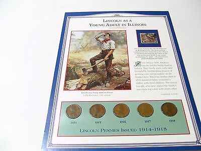 LINCOLN WHEAT CENT   (1914-1918)  5 Pennies and 1 Commemorative Stamp