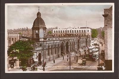 Leicester. Midland Station and London Road. Trams. RP.