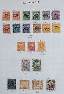 El Salvador -Page with Mint 1898 Set of Postage Dues-Plus Others
