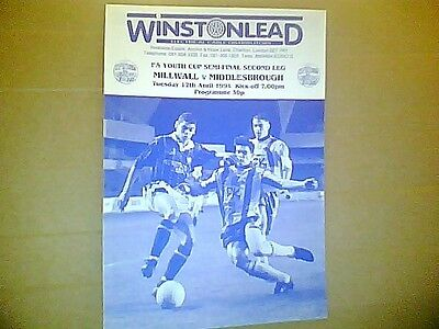 MILLWALL v MIDDLESBROUGH F.A.YOUTH CUP SEMI FINAL SECOND LEG 1993/4