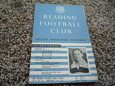 1950-51 Reading v Norwich City. Third Division South Football Programme