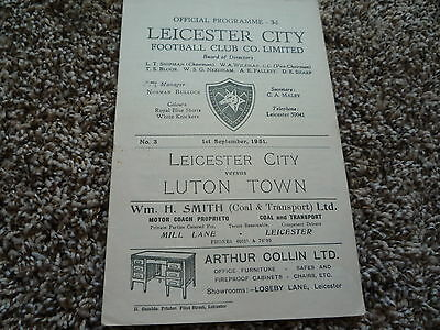 1951-52 Leicester City v Luton Town. Second Division Football Programme