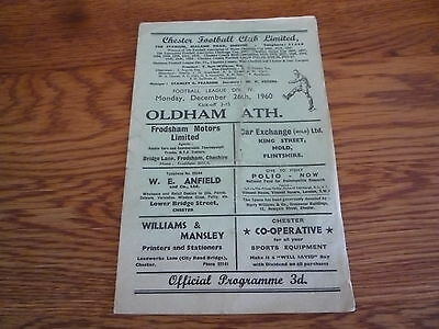 1960-1961 Chester v Oldham Athletic.. Fourth Division Football Programme