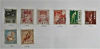 Japan - 8 x F/Used 1950s Stamps