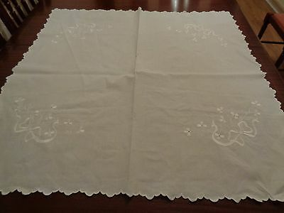 "Vintage Cotton Table Cloth With White Work Embroidery.34"" X 34"""