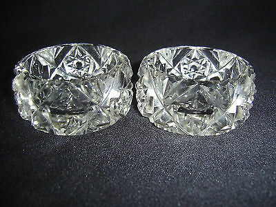 Antique Pair Of Hand Cut Crystal Open Salts