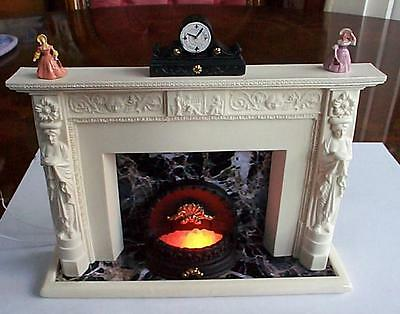 Dollhouse Fireplace Adams style 12v light up grate ornaments clock 1/12 scale