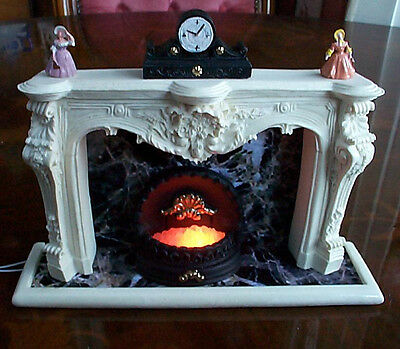doll house grand style fireplace miniature 12v light up grate statues clock new