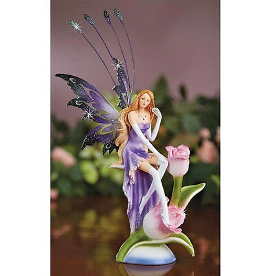 DELUXE Glitter Rose FAIRY Purple FIGURINE deluxe ANGEL NEW IN BOX large SALE