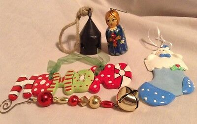 Christmas  Ornaments Lot Of 5 Vintage Decorations Holiday