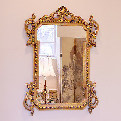 Shabby Cottage Chic Vintage Gold Leaf Mirror French Style Wall Decor Carved Wood