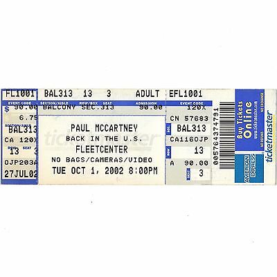 PAUL McCARTNEY Concert Ticket Stub BOSTON 10/1/02 BACK IN THE US TOUR BEATLES