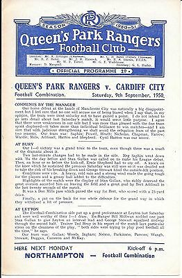 Queen's Park Rangers Reserves v Cardiff City Reserves 1950/51 - 4 Page