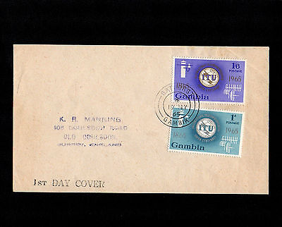 Gambia 1965 Itu Centenary First Day Cover With Bathurst Cds Postmark