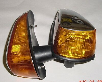 VW bug 1970-1979 turn signal assembly with amber lens chrome housing pair comple
