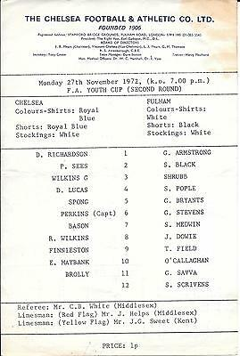 Chelsea v Fulham FA Youth Cup 1972/73 - Single card