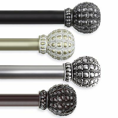 """Rosette Curtain Rod 1/"""" OD #10-12 choose from 3 colors and 5 sizes 28-240 inch"""