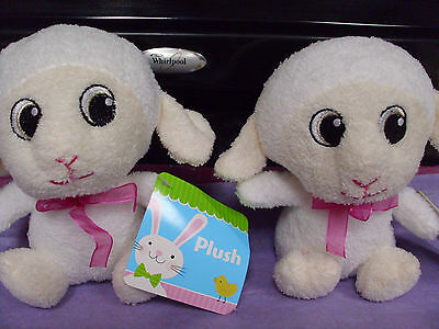 2 lot adorable baby lamb plush stuffed animal valentine's day easter nwt