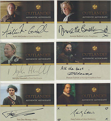 Outlander Trading Cards Season 1  Complete Set of ALL 18 Autograph Trading Cards