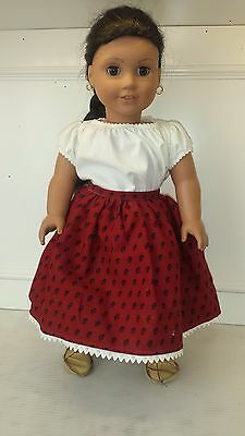 """18""""American Girl Doll Josefina PLEASANT COMPANY Dressed Meet Outfit Boots Dress"""