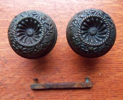 "Two Antique Fancy Dark Cast Bronze Doorknobs ""Medley"" by Kenton c1892"