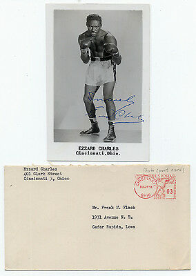 """Ezzard Charles (d.1975) Vintage Signed 3 ½"""" x 5 ½"""" Photograph"""