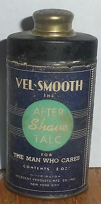 Vel-Smooth After Shave Talcum / Talc Powder Advertising Tin