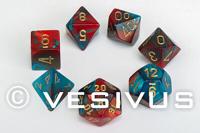 DICE Chessex Gemini RED & TEAL 7-Dice Set Marble Shiny d20 d10 RPG d6 D&D 26462