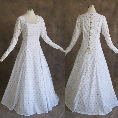 Medieval Renaissance Gown White Gold Dress Costume LOTR Wedding 4X